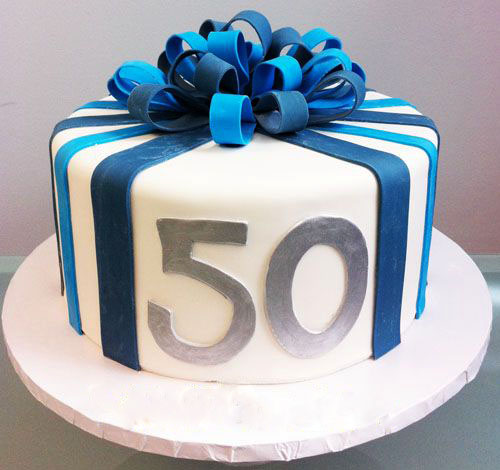 50 Blue Ribbon Dad Birthday Cake