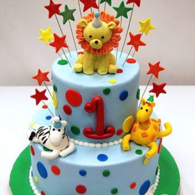 Lion Giraffe Kids Birthday Cake