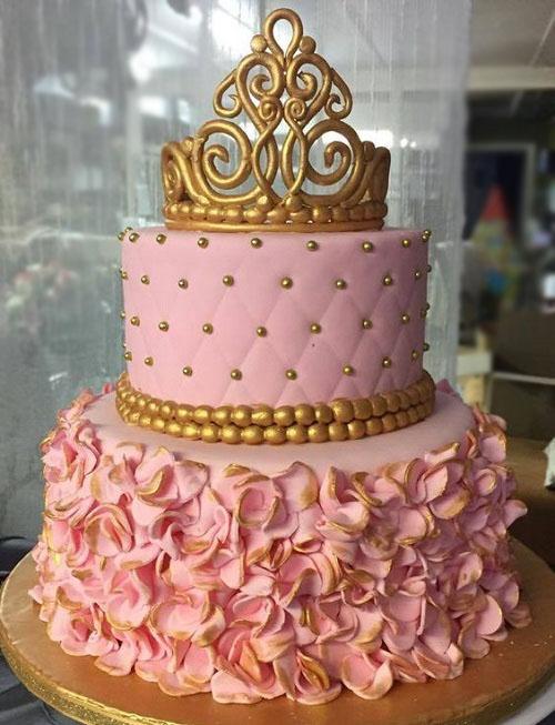 Pink Flowers Girls Birthday Cake