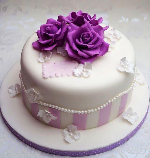 Purple Flowers Birthday Cake