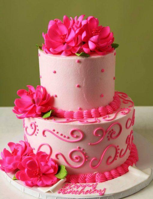 Red Flowers Birthday Cake